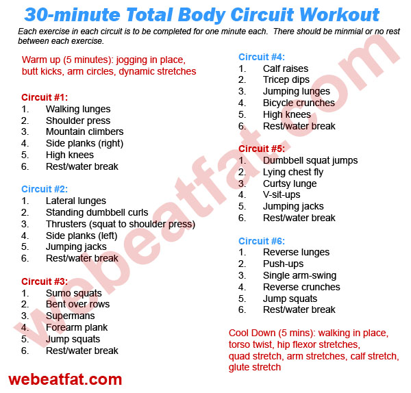 Circuit training: 30 minute total body workout
